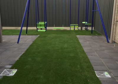 We did the paving and laid the artificial lawn for this client's backyard in Burnside